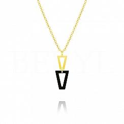 Naszyjnik srebrny pozłacany wiszące trójkąty z czarną emalią