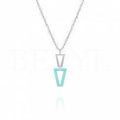 Naszyjnik srebrny wiszące trójkąty z niebieską emalią