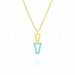 Naszyjnik srebrny pozłacany wiszące trójkąty z niebieską emalią