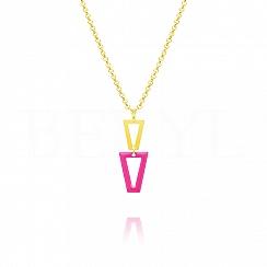 Naszyjnik srebrny pozłacany wiszące trójkąty z różową emalią