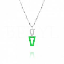 Naszyjnik srebrny wiszące trójkąty z zieloną emalią
