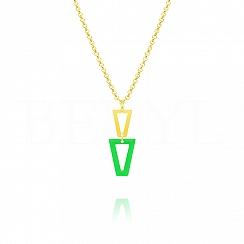 Naszyjnik srebrny pozłacany wiszące trójkąty z zieloną emalią