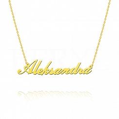 Naszyjnik z imieniem ALEKSANDRA srebrny pozłacany
