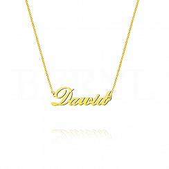 Naszyjnik z imieniem DAWID srebrny pozłacany