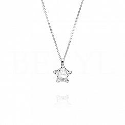 Naszyjnik srebrny z białym kryształkiem swarovskiego gwiazdka