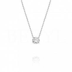 Naszyjnik srebrny biały kryształ swarovskiego