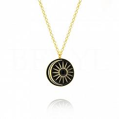 Naszyjnik srebrny pozłacany ze słońcem i księżycem