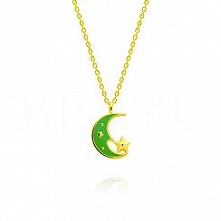 Naszyjnik księżyc srebrny pozłacany z zieloną emalią