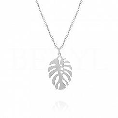 Naszyjnik srebrny z kwiatkiem monstera