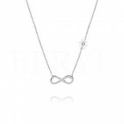 Choker na szyję srebrny z infinity i perełkami swarovskiego
