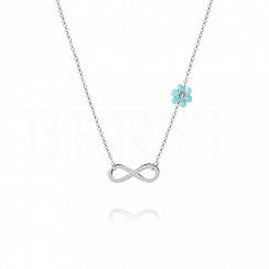 Choker na szyję srebrny z infinity i niebieskim kwiatuszkiem