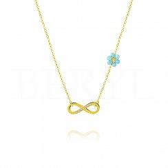 Choker na szyję srebrny pozłacany z infinity i niebieskim kwiatuszkiem