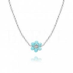 Choker na szyję srebrny z niebieskim kwiatuszkiem