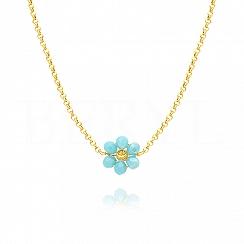 Choker na szyję srebrny pozłacany z niebieskim kwiatuszkiem