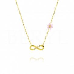 Choker na szyję srebrny pozłacany z infinity i różowym kwiatuszkiem