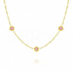 Choker na szyję srebrny pozłacany z różowymi kwiatuszkami