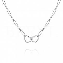 Naszyjnik łańcuch dwa serca srebrny