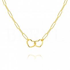 Naszyjnik łańcuch dwa serca srebrny pozłacany