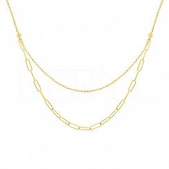 Naszyjnik łańcuch podwójny srebrny pozłacany ze szlifowanymi kuleczkami