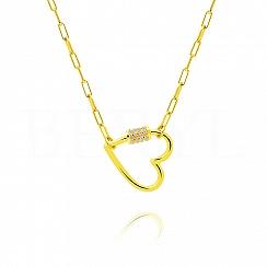Naszyjnik łańcuch srebrny pozłacany z dużym sercem i cyrkoniami