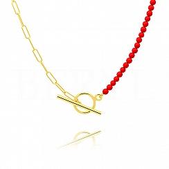 Naszyjnik łańcuch srebrny pozłacany czerwone koraliki zapięcie toggle