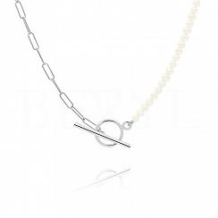 Naszyjnik łańcuch z perłami srebrny zapięcie toggle