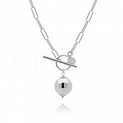 Naszyjnik łańcuch z kulką srebrny zapięcie toggle