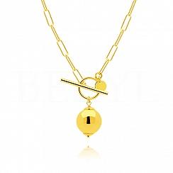 Naszyjnik łańcuch z kulką srebrny pozłacany zapięcie toggle