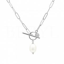 Naszyjnik łańcuch z perłą srebrny zapięcie toggle