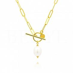 Naszyjnik łańcuch z perłą srebrny pozłacany zapięcie toggle