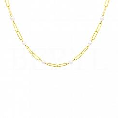 Naszyjnik łańcuch z perłami srebrny pozłacany