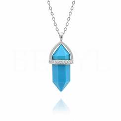 Naszyjnik srebrny z niebieskim naturalnym turkusem