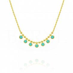 Naszyjnik srebrny pozłacany z niebieskimi kryształkami swarovskiego