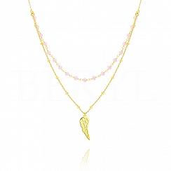 Choker na szyję podwójny srebrny pozłacany skrzydło z różowymi koralikami