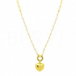 Naszyjnik łańcuch serce srebrny pozłacany z perłami zapięcie federing