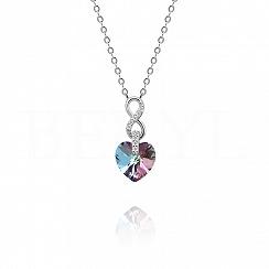 Naszyjnik srebrny z serduszkiem kryształ swarovskiego niebiesko-fioletowy