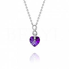 Naszyjnik srebrny z serduszkiem kryształ swarovskiego fioletowy