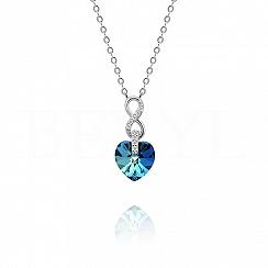 Naszyjnik srebrny z serduszkiem kryształ swarovskiego niebieski