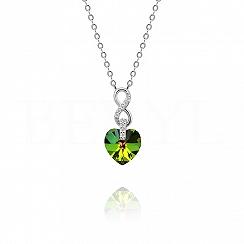 Naszyjnik srebrny z serduszkiem kryształ swarovskiego zielony