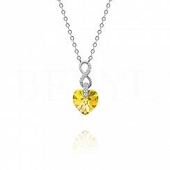 Naszyjnik srebrny z serduszkiem kryształ swarovskiego żółty