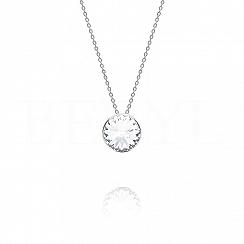 Naszyjnik srebrny z białym kryształkiem swarovskiego