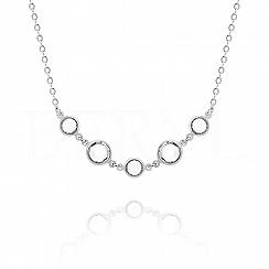 Naszyjnik srebrny z białymi kryształkami swarovskiego