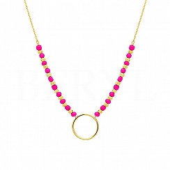 Choker na szyję srebrny pozłacany z kółeczkiem i różowymi koralikami