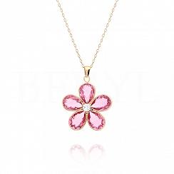Naszyjnik srebrny pozłacany różowy kwiatek