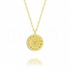 Znak zodiaku lew naszyjnik srebrny pozłacany