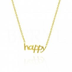 Naszyjnik srebrny pozłacany z napisem HAPPY