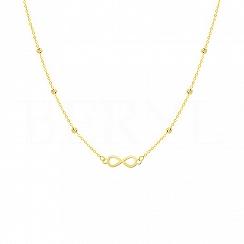 Naszyjnik złoty znak nieskończoności, łańcuszek ankier z błyszczącymi kuleczkami