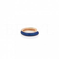 Nausznica srebrna pozłacana - niebieska emalia