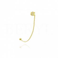 Nausznica z łańcuszkiem srebrna pozłacana z trzema cyrkoniami - lewa