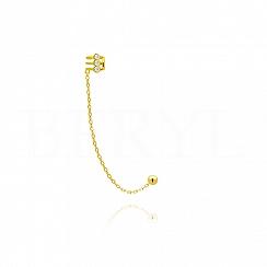 Nausznica z łańcuszkiem srebrna pozłacana z trzema cyrkoniami - prawa